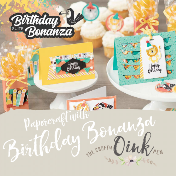 Birthday Bonanza Papercraft Class in Huntingdon, Cambridgeshire by Mikaela Titheridge, UK Independent Stampin' Up! Demonstrator, The Crafty oINK Pen. Supplies available through my online store 24/7