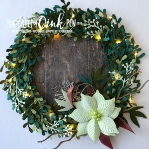 Illuminated Sprig Punch Wreath in Box Frame. Tutorial by Mikaela Titheridge, UK Independent Stampin' Up! Demonstrator, The Crafty oINK Pen. Supplies available through my online store 24/7