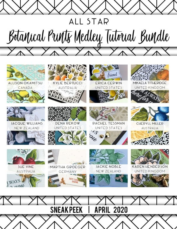 All Star Tutorial Bundle for April using Botanical Prints Medley and offering a PDF Tutorial and Video Tutorials by Mikaela Titheridge, UK Independent Stampin' Up! Demonstrator, The Crafty oINK Pen. Supplies available through my online store 24/7