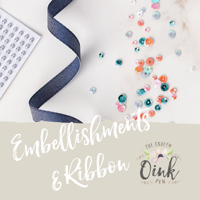 retired embellishments and ribbon
