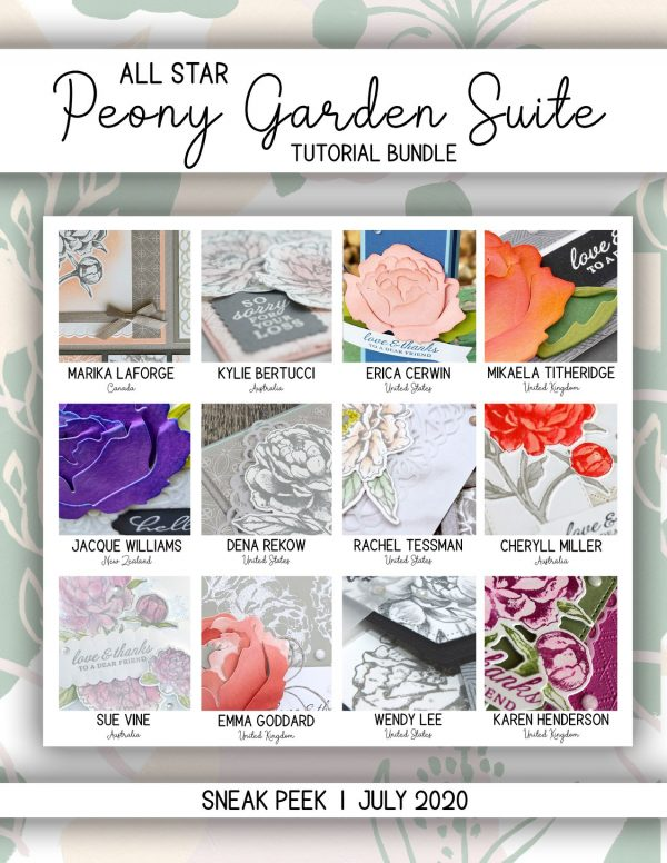 All Star Tutorial Bundle Team and this month's Peony Garden Suite by Mikaela Titheridge, UK Independent Stampin' Up! Demonstrator, The Crafty oINK Pen. Stampin' Up! Products available through my online UK store 24/7. Use my Shopping Code at checkout for personal rewards from me.