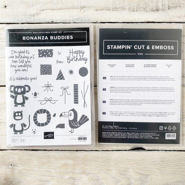 Stampin' Up Bonanza Buddies Stamp set and dies. Animal birthday images