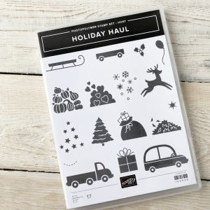 Stampin' Up! Holiday Haul Stamp Set. Car, Deer, Tree, Presents, Holly and snowflakes