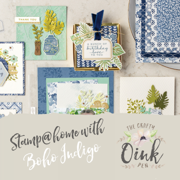 Papercraft supplies from Stampin' Up! called Boho Indigo Product Medley class