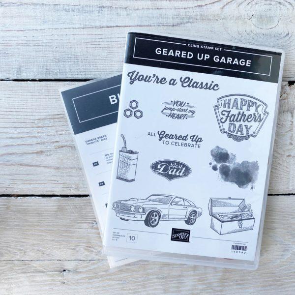 Stampin' Up! Retired Stamp set and die bundle Geared up garage